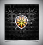 Glossy shield emblem on black background Stock Photography