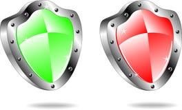 Glossy shield emblem icons Royalty Free Stock Image