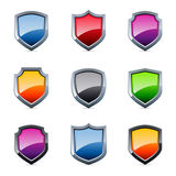 Glossy shield icons Royalty Free Stock Images