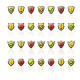 Glossy Shield Icons. A collection of 28 shiny vector shield icons with fading reflections vector illustration
