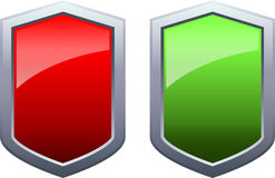 Glossy Shield Icons Red and Green Vector Royalty Free Stock Image