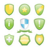 Glossy Shield Icons Set Stock Images