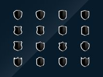 Glossy shield icons Royalty Free Stock Image