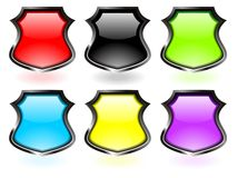 Glossy shield set vector Stock Photo