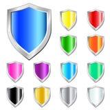 Glossy shield vector set. Stock Photo