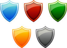 Five Glossy Shields Royalty Free Stock Photo