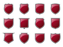 Glossy Shields. A set of glossy shield icons (available as vector Royalty Free Stock Photos