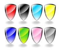 Glossy shields set vector Royalty Free Stock Photography
