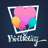 Glossy and shine birthday card vector template. With balloon images and happy birthday lettering composition Royalty Free Stock Images