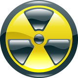 Glossy shint radiation symbol icon. A glossy shiny radiation symbol icon illustration Royalty Free Stock Images