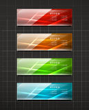 Glossy shiny banners on black Stock Photo
