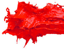 Glossy Shiny Red  Paint Splashing. Glossy Red  Splatter Paint Splash Stock Photo