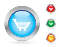 Glossy shopping button set Royalty Free Stock Photos