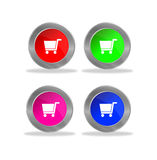 Glossy shopping cart buttons Royalty Free Stock Photos