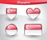 Glossy Singapore flag icon set Stock Photos
