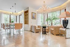 Glossy sitting and dinning room Royalty Free Stock Photo