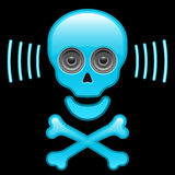 Glossy skull with speaker eyes and crossbones Royalty Free Stock Image