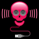 Glossy skull with speaker eyes and usb cable Royalty Free Stock Photos