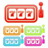 Glossy slot machine sign/icon. Five color variations royalty free illustration