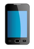 Glossy smart phone with blue touch screen Royalty Free Stock Photo