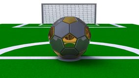Glossy soccer ball on a white background. 3d abstract Royalty Free Stock Photo