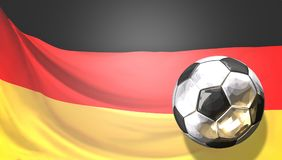 Glossy soccer football ball front of german flag. Germany. Ball. 3d rendering design Royalty Free Stock Photo