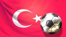 Glossy soccer football ball front of turkish flag. Turkey. Ball. 3d rendering design Stock Photo