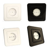 Glossy socket black and white options, set of four Royalty Free Stock Image