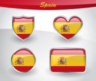 Glossy Spain flag icon set Stock Photos