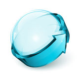 Glossy sphere. 3D shiny sphere and arrow Royalty Free Stock Photo