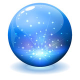 Glossy sphere with sparks inside Royalty Free Stock Image