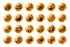 Glossy sphere web and multimedia icons Stock Images