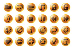 Glossy sphere web and multimedia icons Stock Photography