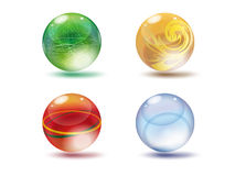GLOSSY SPHERES. Four  based Different sphere color Stock Images
