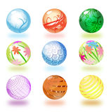 Glossy spheres. Nine colorful spheres on white background vector illustration