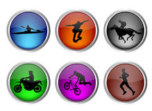 Glossy sport buttons Stock Photos