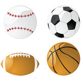 Glossy sports balls Royalty Free Stock Image