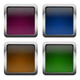 Glossy square buttons. Blank glossy square buttons set royalty free illustration