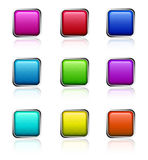 Glossy square buttons. Set of icons for computer and applications in nine different colours on white background Stock Photo