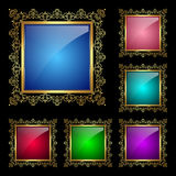 Glossy square frames set. Glossy square frame in a golden rim. Vector Illustration for greeting card Royalty Free Stock Photo
