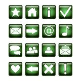 Glossy square UI icon set green and white. 16 icons. Isolated on white Royalty Free Stock Photo