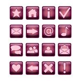 Glossy square UI icon set purple and pink. 16 icons. Isolated on white. Glossy square UI icon set purple and pink. 16 icons. Isolated on a white background Stock Photo
