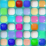 Glossy squares pattern. Seamless 3d texture of different colored rounded cubes Royalty Free Stock Photo