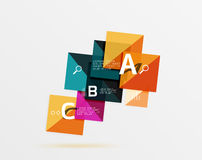 Glossy squares with text, abstract geometric design concept. Vector template background for workflow layout, diagram, number options or web design Stock Photo