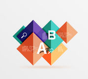 Glossy squares with text, abstract geometric design concept. Vector template background for workflow layout, diagram, number options or web design Stock Images