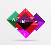 Glossy squares with text, abstract geometric design concept. Vector template background for workflow layout, diagram, number options or web design Royalty Free Stock Photos