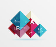 Glossy squares with text, abstract geometric design concept. Vector template background for workflow layout, diagram, number options or web design Stock Photography