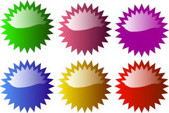 Glossy star shaped badge vector illustration