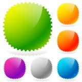 Glossy starburst / sunburst design elements in 6 colors Stock Image