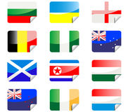 Glossy stickers with flags Stock Images